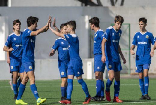 Celebración de un gol del Sant Lluís.