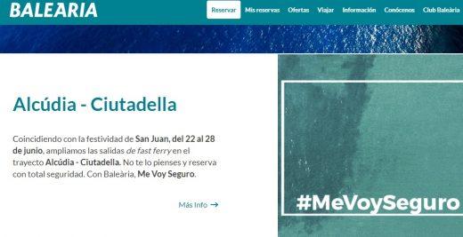 Captura de pantalla de la web de reservas de Baleària