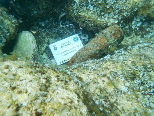 Imagen del proyectil localizado (Fotos: Armada Española)
