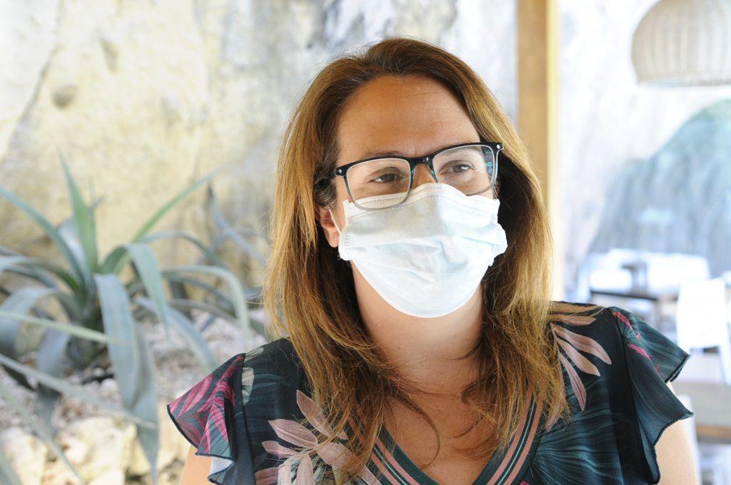 Susana Mora, hoy en el Consell con mascarilla (Foto: Tolo Mercadal)