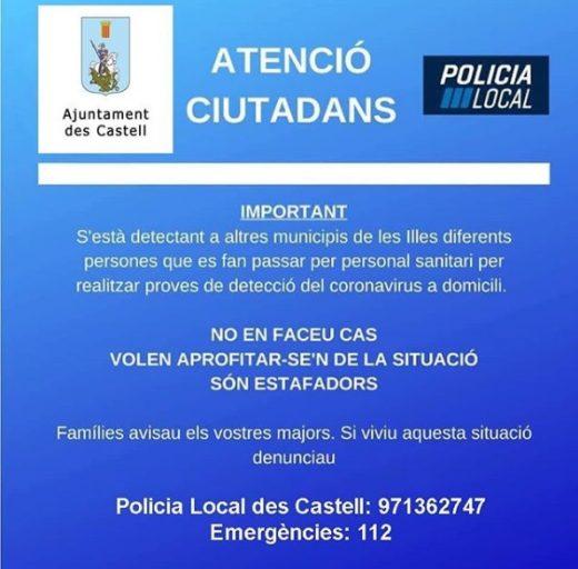 Aviso emitido por la Policía Local de Es Castell