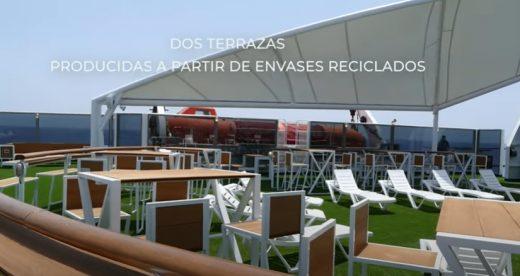 Imagen del vídeo en el que Baleària muestra el nuevo mobiliario