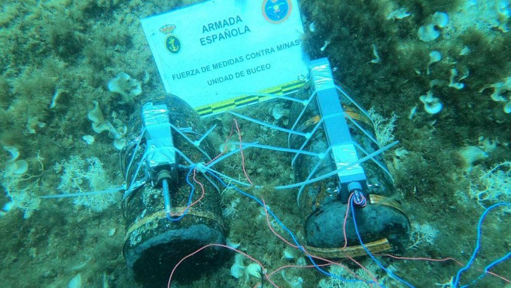 Imagen de los explosivos recuperados (Foto: Armada española)