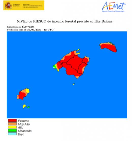 Mapa de riesgo de incendios en Baleares
