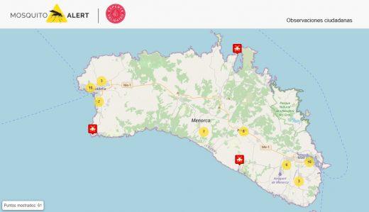 Imagen del mapa de la web Mosquito Alert