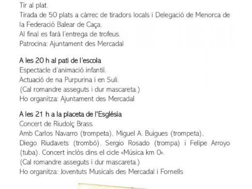 Conciertos y actividades infantiles para celebrar Sant Martí en Es Mercadal