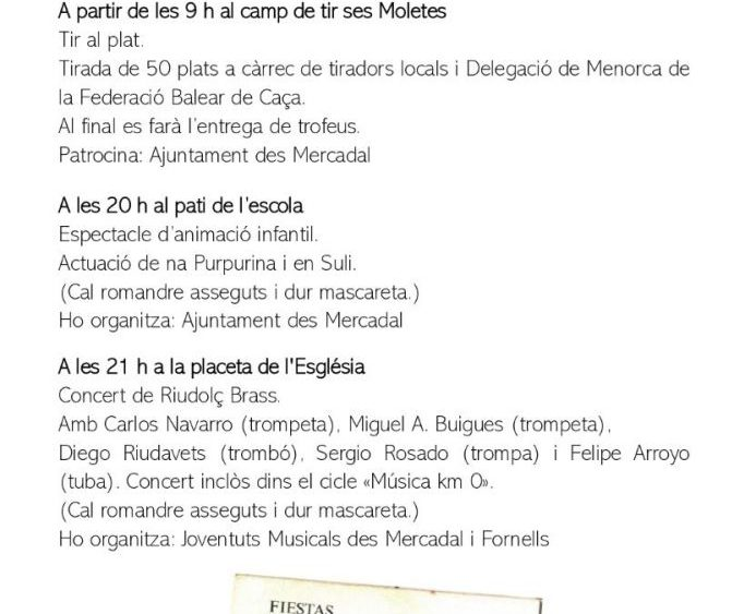 Programa de fiestas Sant Martí 2020 pág2