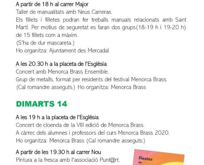 Programa de fiestas Sant Martí 2020 pág3
