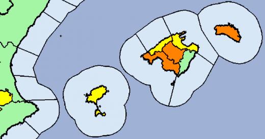 Mapa de alerta naranja de la Aemet para el martes.