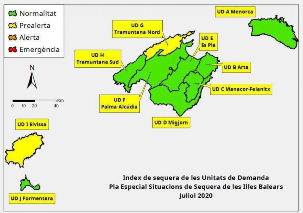 Índice de sequía en Baleares julio 2020