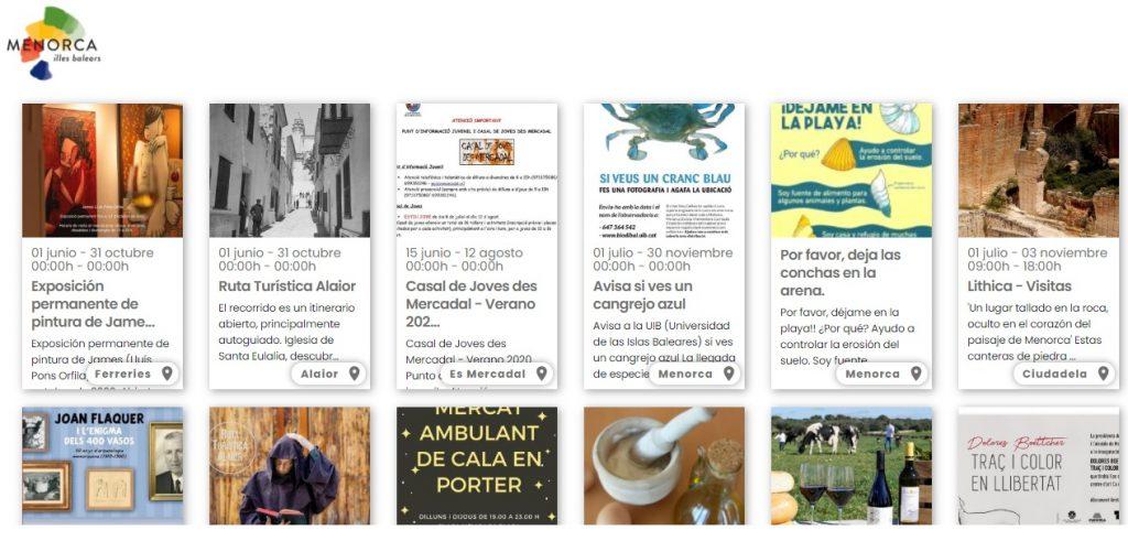 Imagen de la agenda a la que se puede acceder a través del portal menorca.es