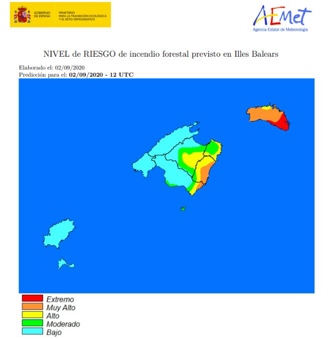 El riesgo de incendios es extremo y muy alto en Menorca (Foto: AEMET).