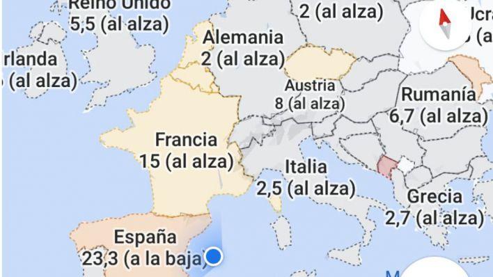 Mapa de contagios de la Covid-19.