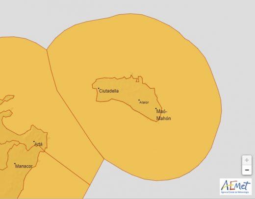 Previsión de alerta naranja este viernes en Menorca