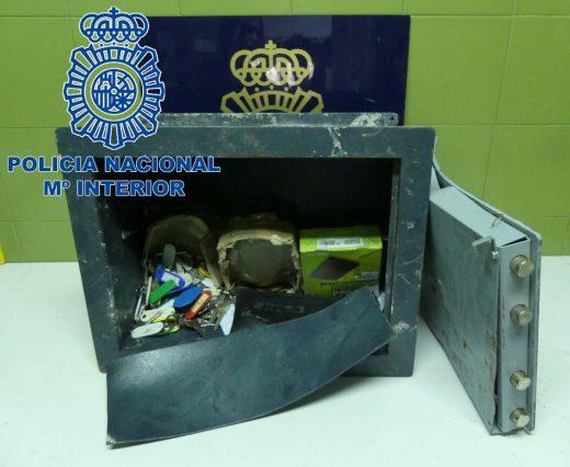 Caja fuerte robada y recuperada por la Policía Nacional