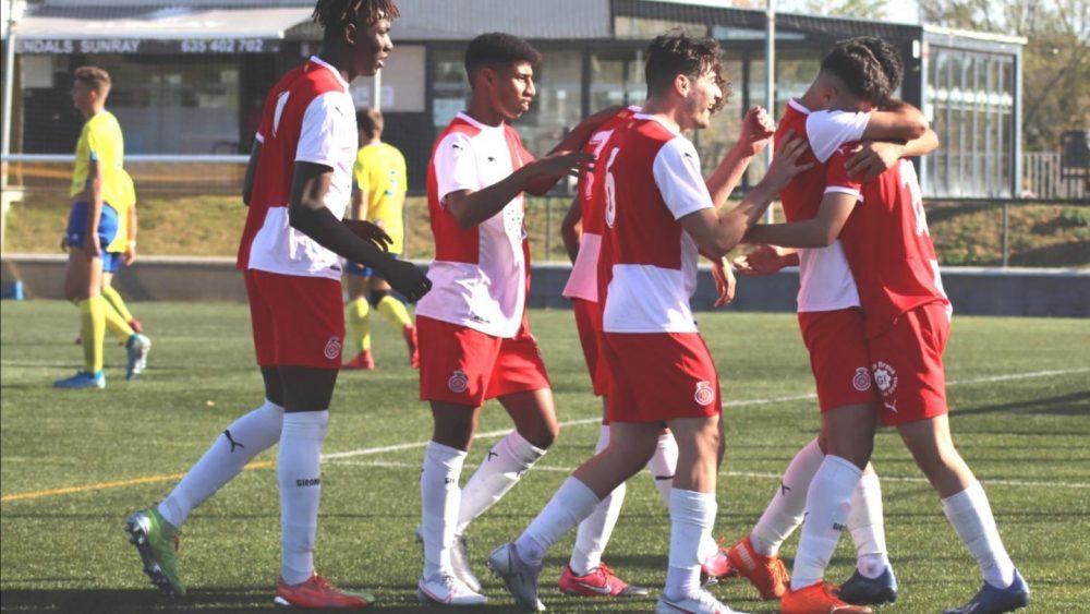 Celebración de uno de los goles (Fotos: Girona FC)