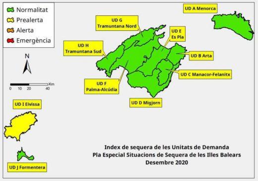 Índice de la sequía en Baleares en diciembre 2020