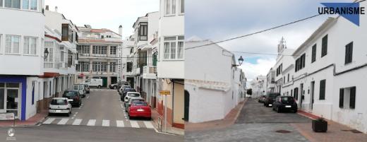 Imagen de las dos calles en las que se trabajará (Foto: Ayuntamiento de Es Mercadal)