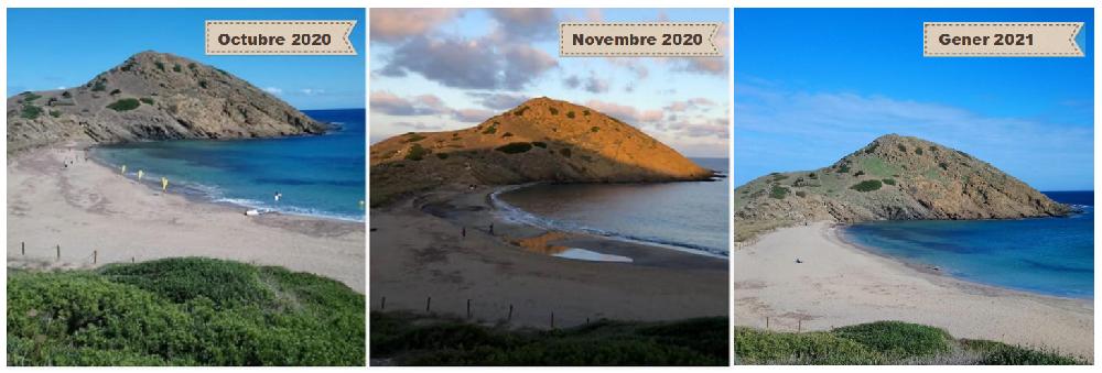 Cambios en la playa de Sa Mesquida en cuatro meses (Foto. GOB Menorca)