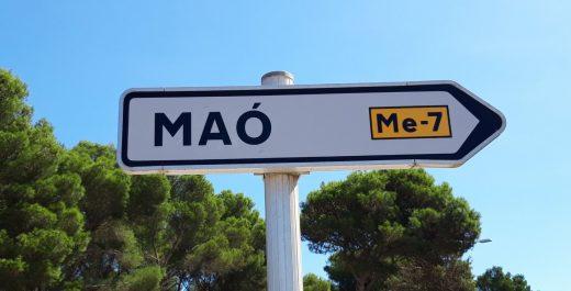 Señal de Maó en catalán.