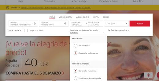 Captura de la página web de Iberia.