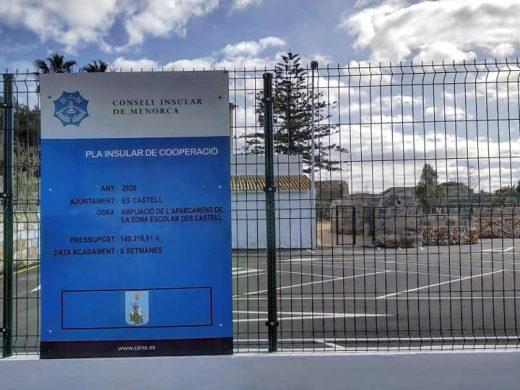 (Fotos) Un parking en Es Castell con 60 nuevas plazas