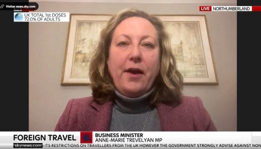 La Ministra de Negocios del Gobierno británico, Anne-Marie Trevelyan en Sky News