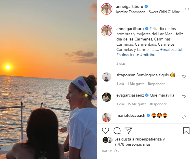Publicación en Instagram de Anne Igartiburu.