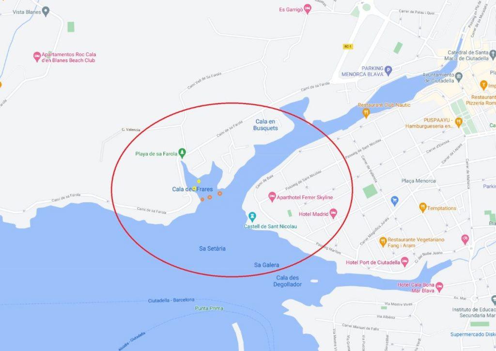 Cala des Frares en el puerto de Ciutadella