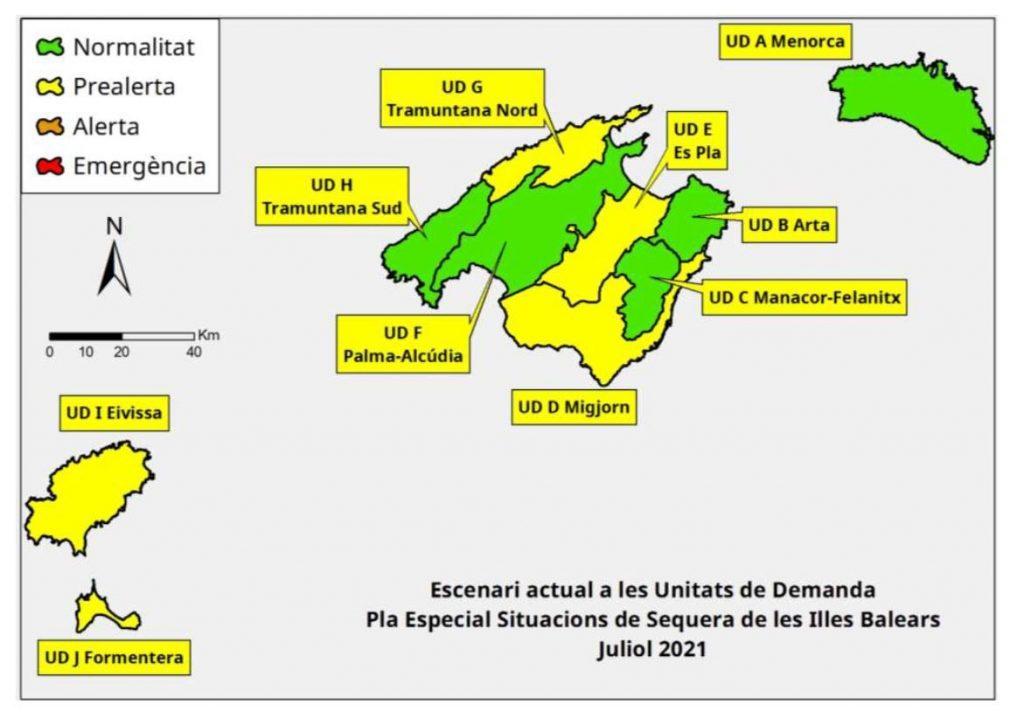 Mapa de la situación de la reservas hídricas el pasado mes de julio en Baleares