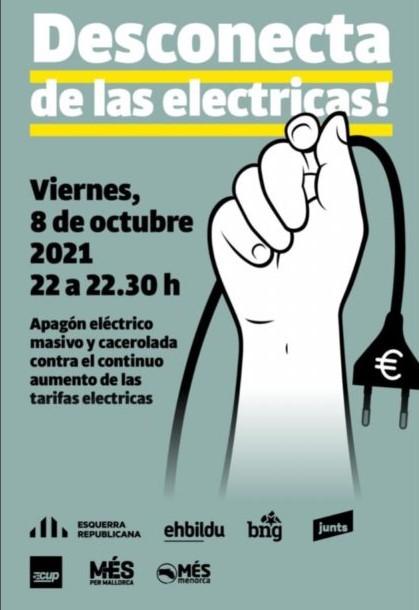 Cartel de la convocatoria de apagón eléctrico
