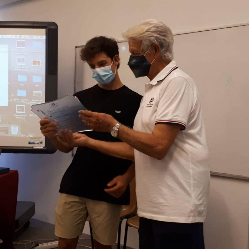David Ponsetí con el presidente de Es Nàutic, Rafel Torrent